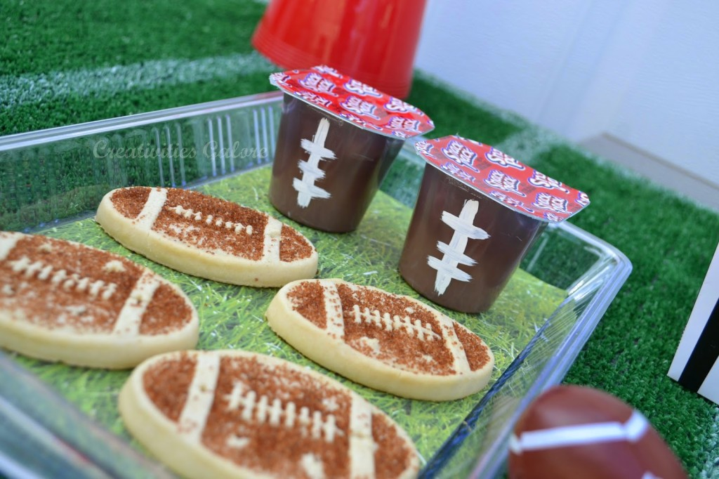 Creativities Galore:: Football shape cookies and football pudding cups