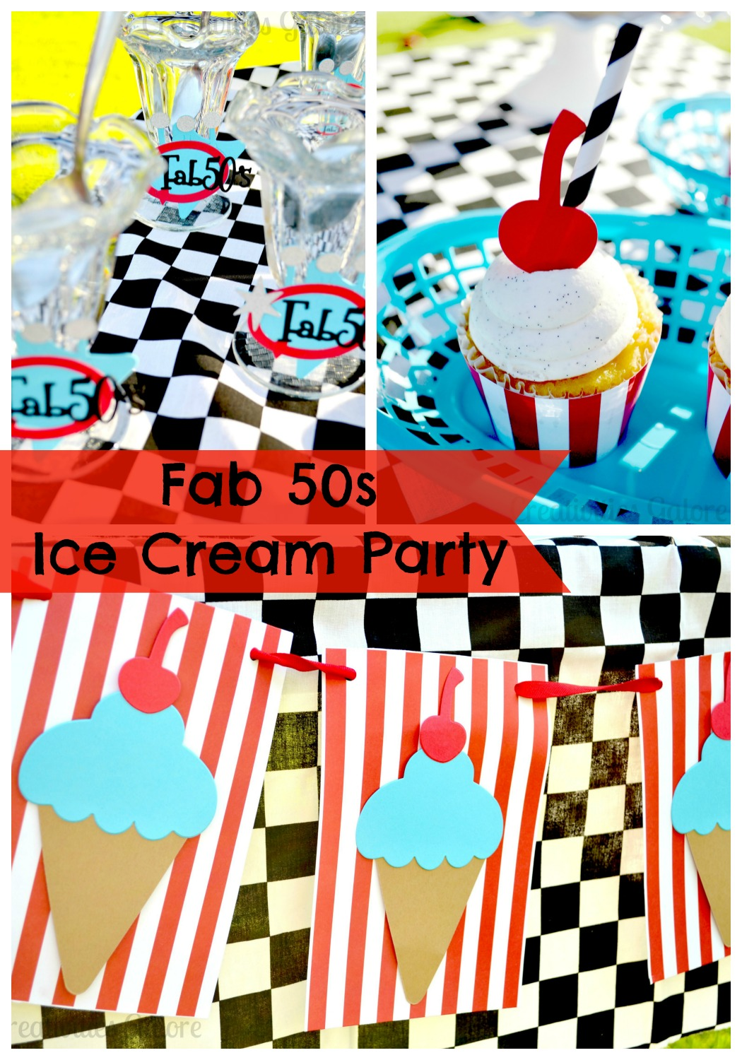 50s Ice Cream Party Collage