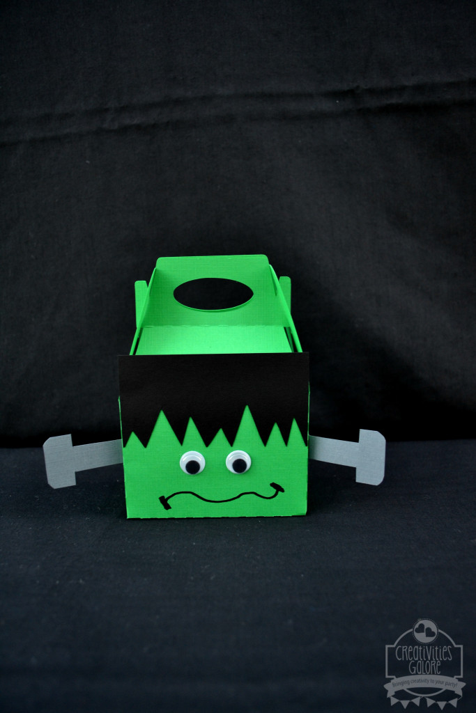Frankenstein Gable Box by Creativities Galore | I am showing you how easy it is to create this Frankenstein gable box. You can use these Frankenstein gable boxes at your next Halloween party or your kids can take them to school with a fun Halloween treat inside and pass them out to their friends.