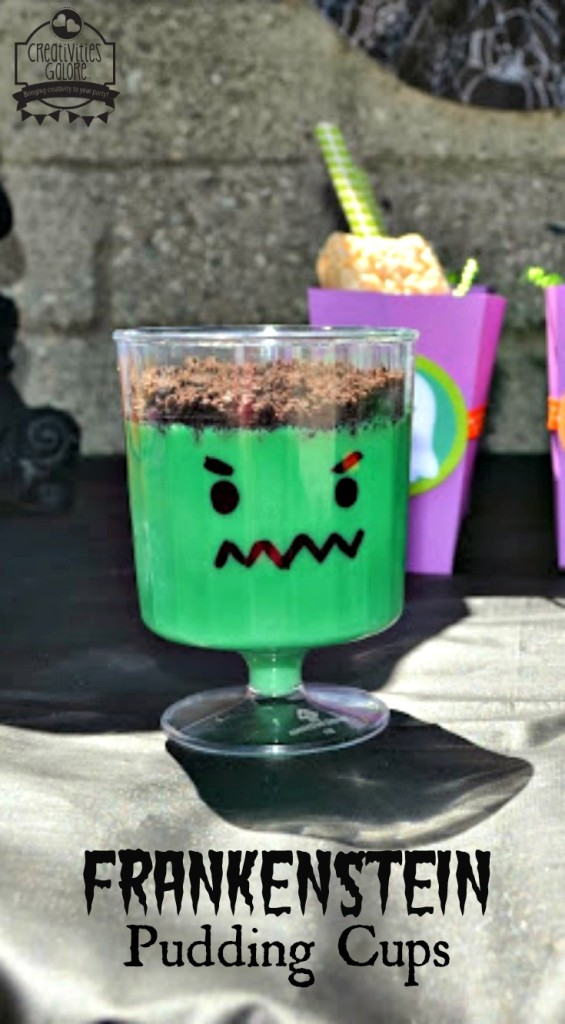 Frankenstein Pudding Cups by Creativities Galore
