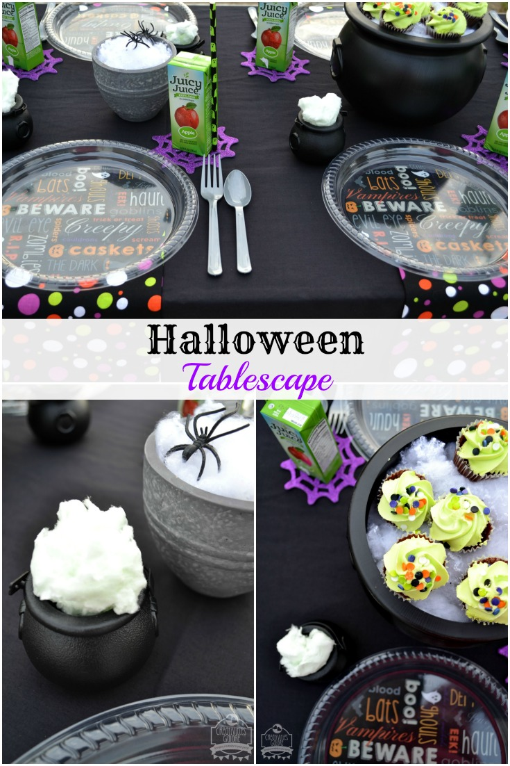 Halloween Tablescape by Creativities Galore: This table is perfect for your kids next Halloween party!