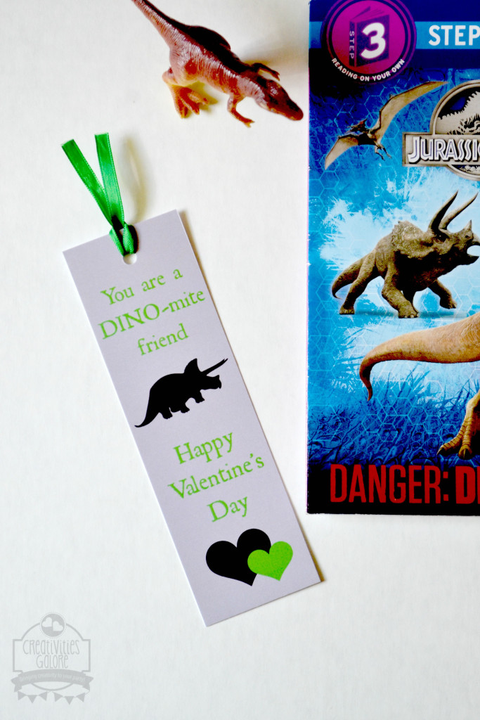Free Valentine's Day Dinosaur Bookmark by Creativities Galore: This free valentine's day dinosaur bookmark is perfect for the dinosaur lover in your home. They will love passing these out to their classmates.