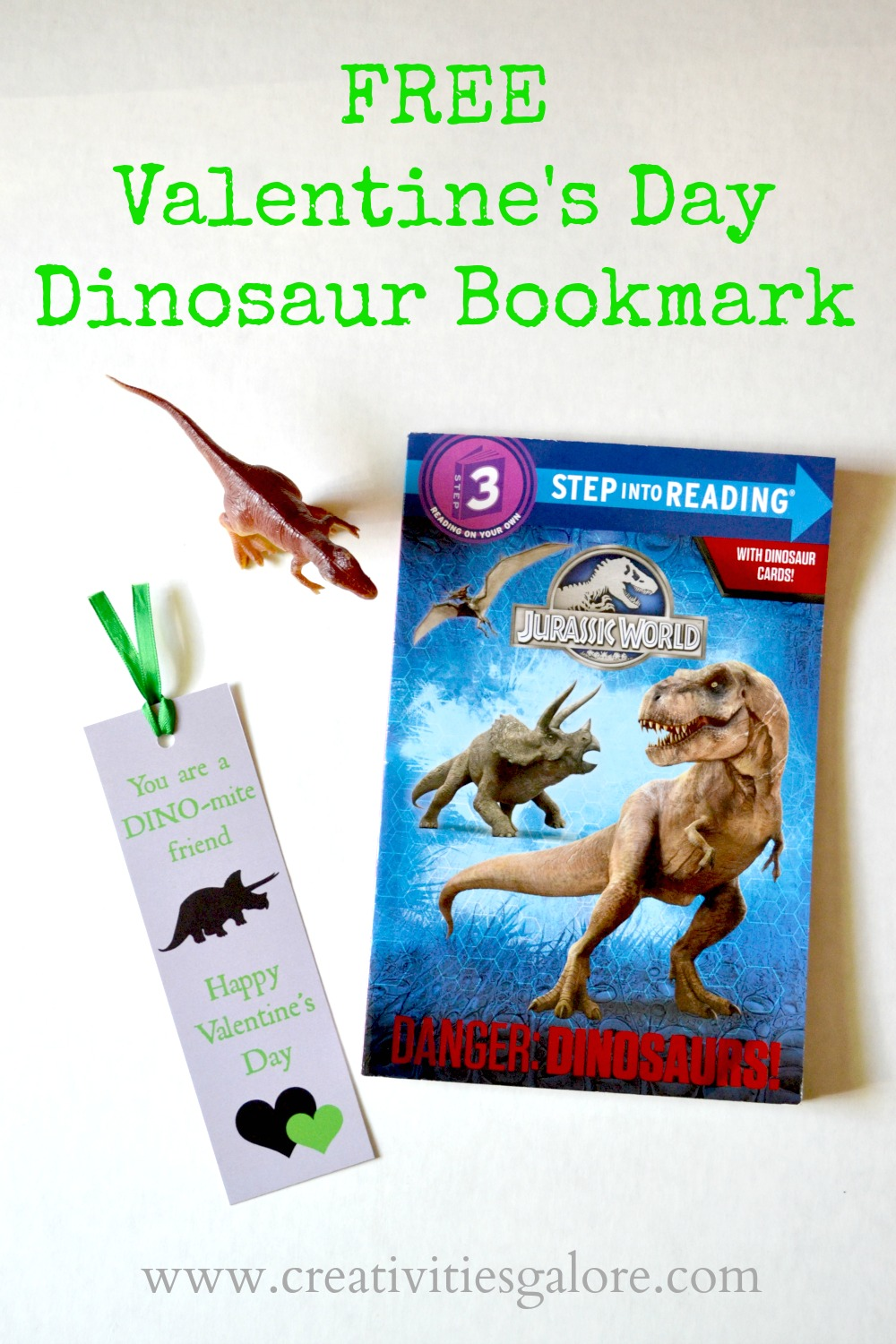 Free Valentine's Day Dinosaur Bookmark by Creativities Galore: This week's party gals linky party is bursting with lovely Valentine's Day inspiration from party ideas to free printables. Come check out the lovely ideas