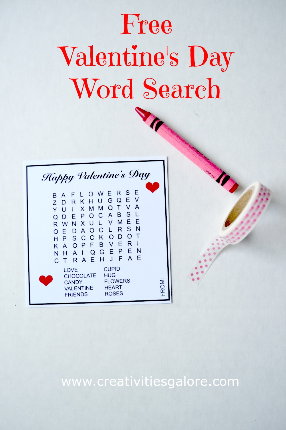 Free Valentine's Day Word Search by Creativities Galore: This valentine word search is a great alternative to the store bought cards just print, cut, sign, and add a crayon.