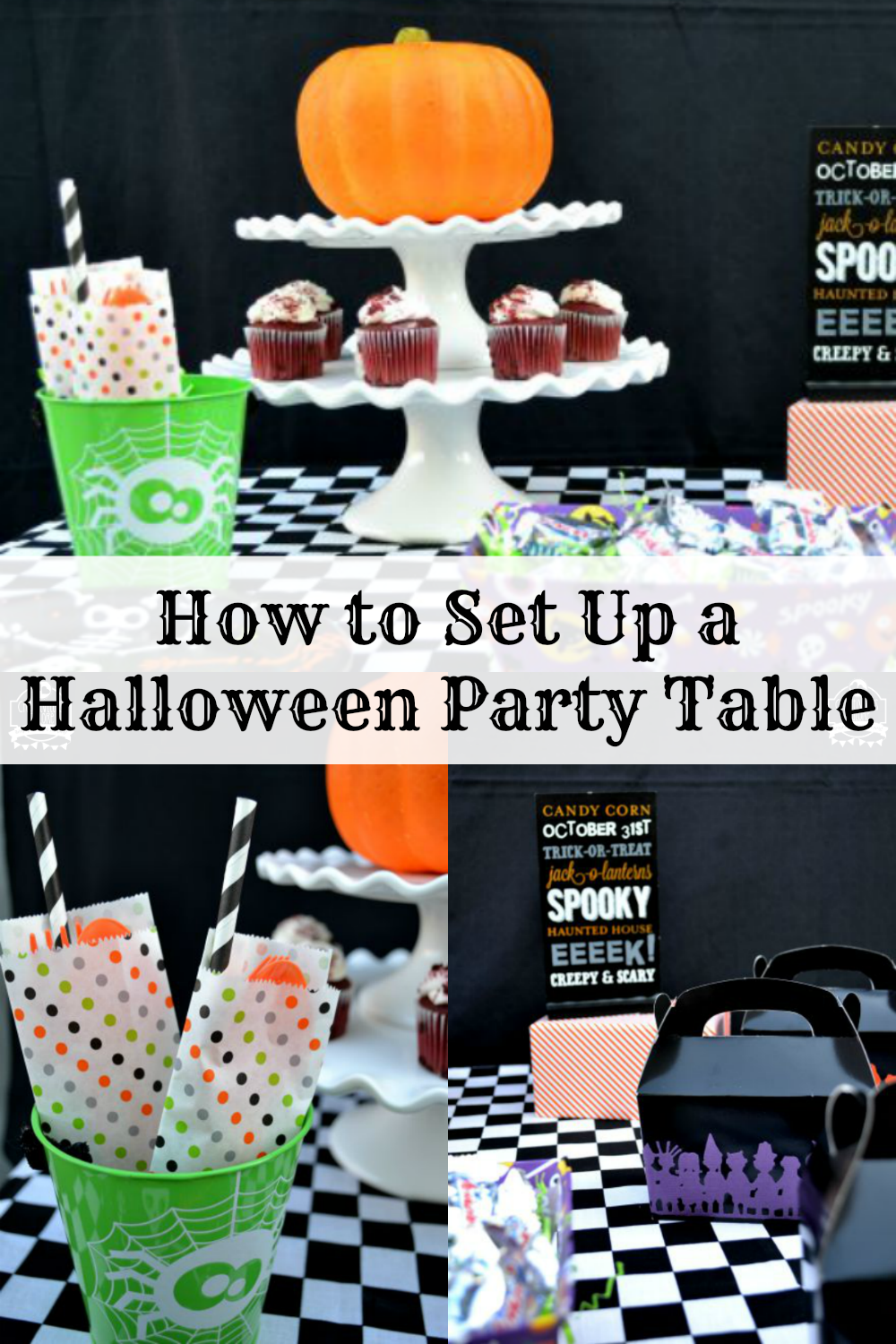 I am sharing a Halloween party table that can be set up in 10 minutes. It is the perfect set up for your next Halloween party!