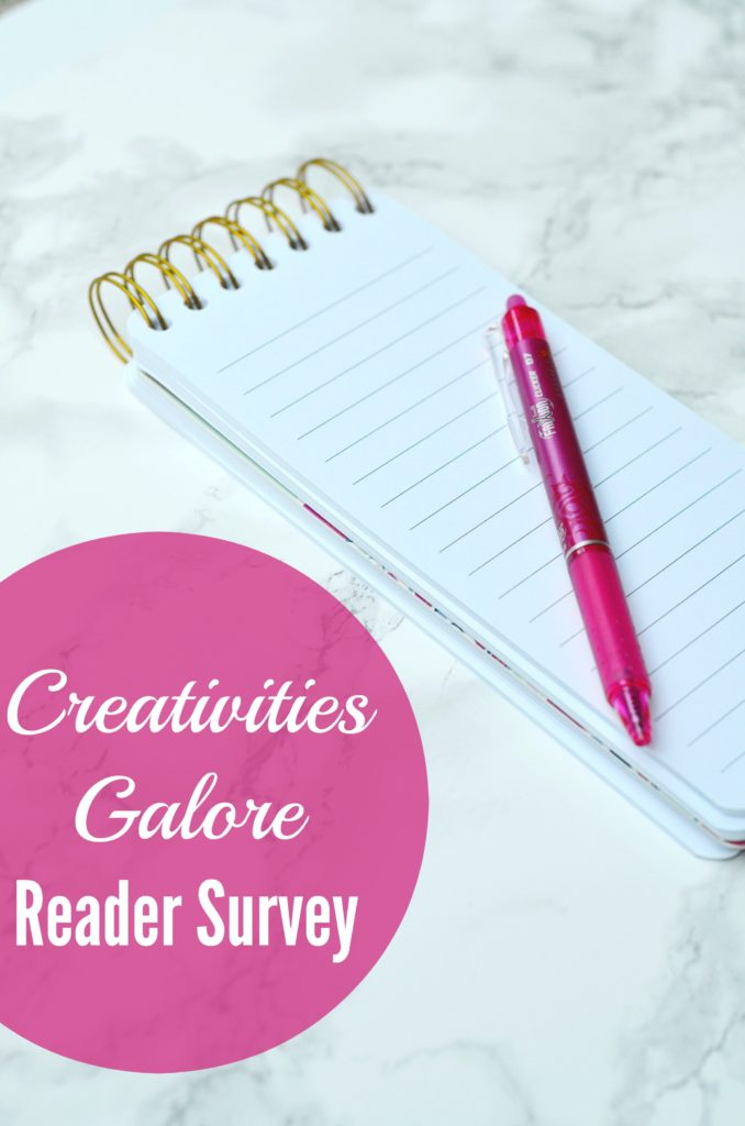 Fill out this short reader survey to help me make sure that my blog is on the right path and helping you with your party, craft, and recipe needs.