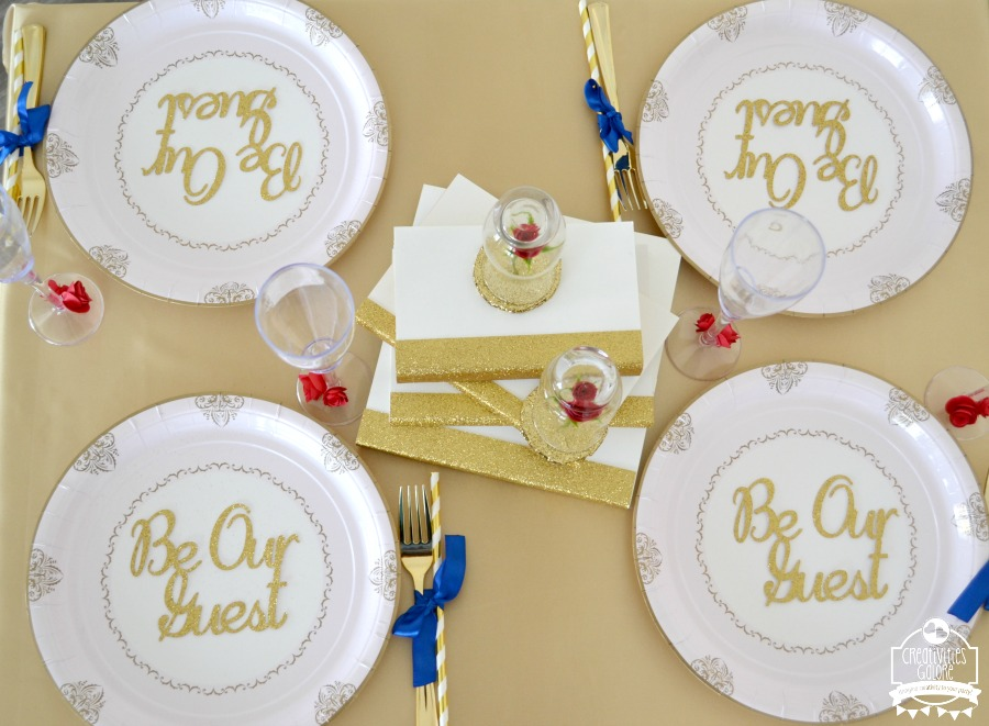 This Beauty and the Beast movie viewing party has some great budget friendly ideas for your next princess movie night, birthday party, or play date.