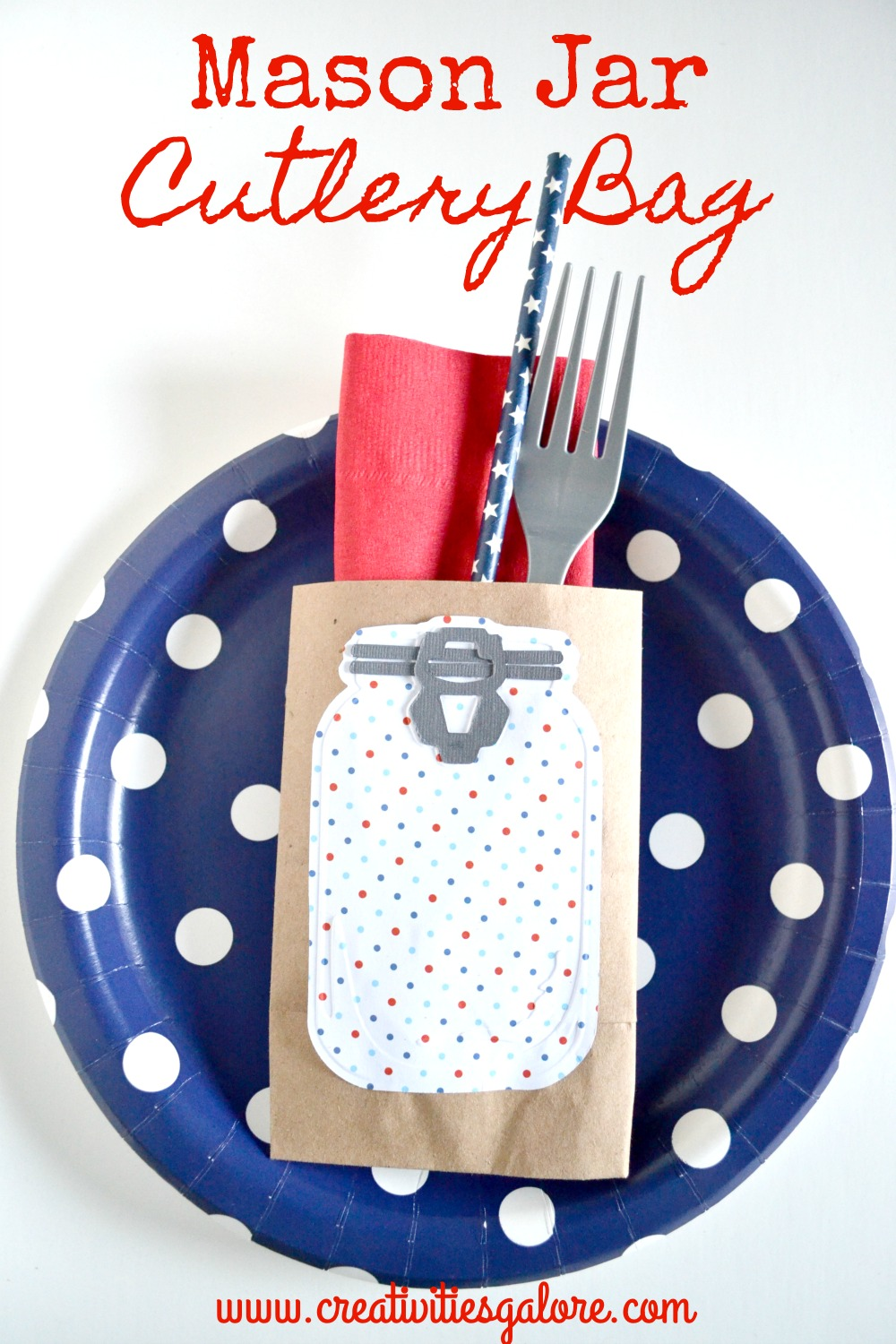 This mason jar cutlery bag adds a nice element to your place setting
