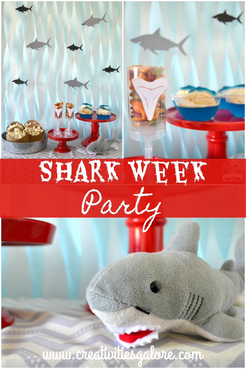 Easy and simple shark week party ideas by Creativities Galore