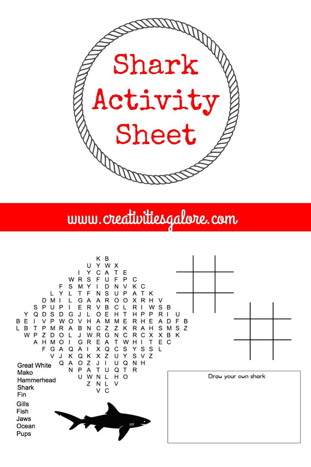 This shark activity sheet is perfect to help keep the kids busy before the first shark week show begins. They are also great to use at birthday parties