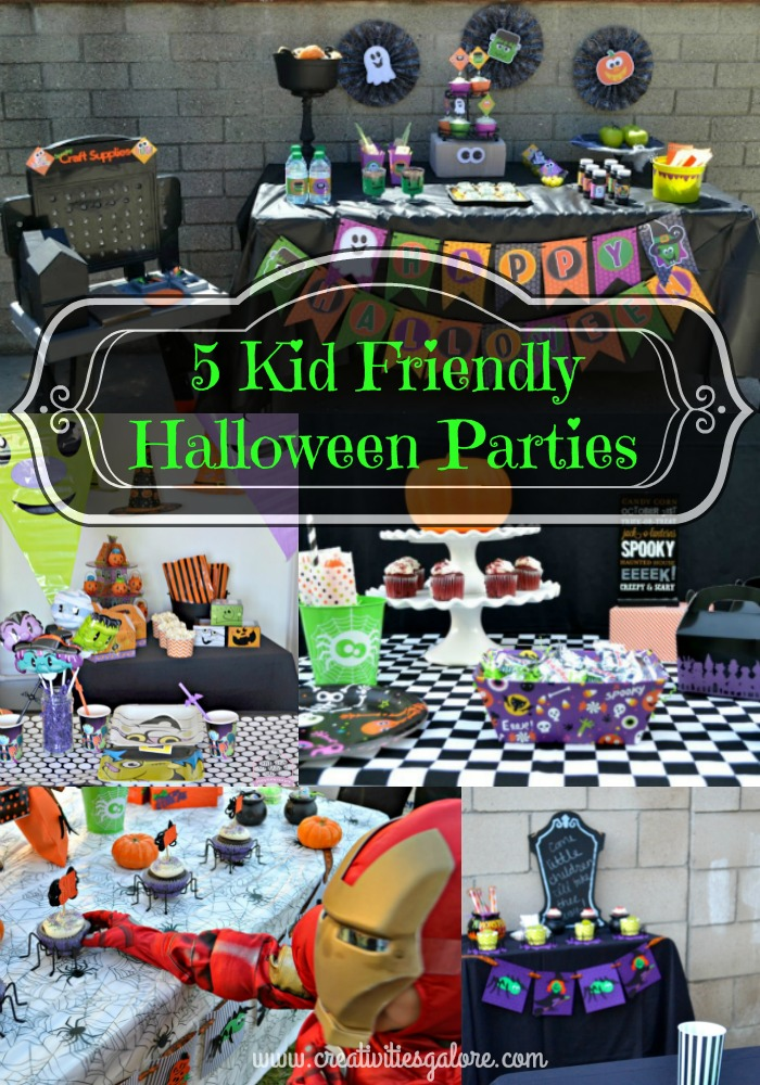 I have gathered 5 kid friendly halloween parties with some great last minute tips. These parties  include centerpieces, food presentation, and decor.