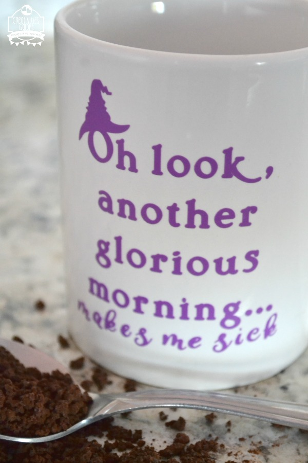 I am not a morning person so coffee is a must. I thought a DIY Halloween coffee mug with this quote from Hocus Pocus would be perfect for me and it is.