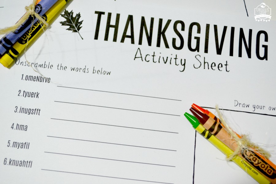 Free Thanksgiving Activity Sheet - Creativities Galore