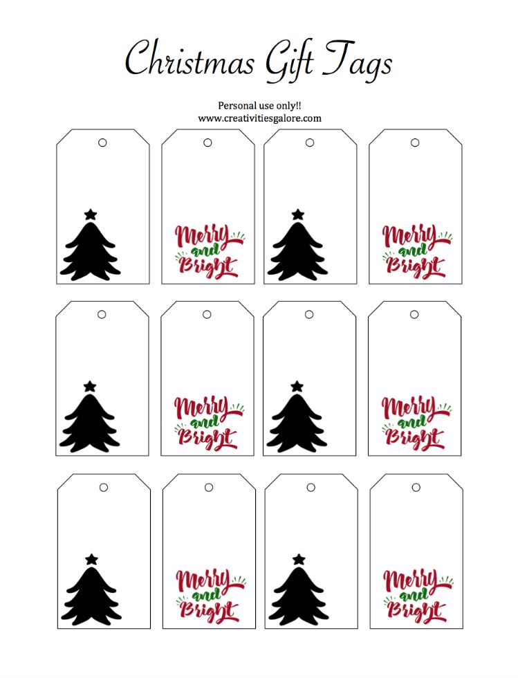 graphic regarding Gift Tags Printable referred to as Xmas Reward Tag Printable - Creativities Galore