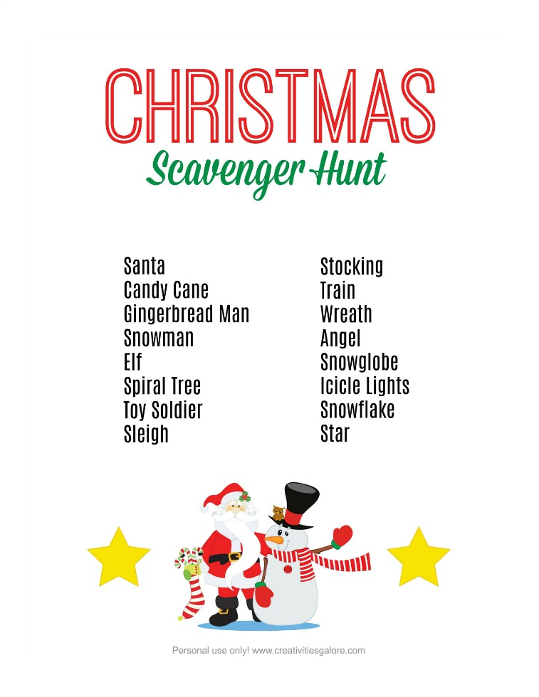 image regarding 12 Days of Christmas Printable identified as Cost-free Xmas Scavenger Hunt Printable - Creativities Galore