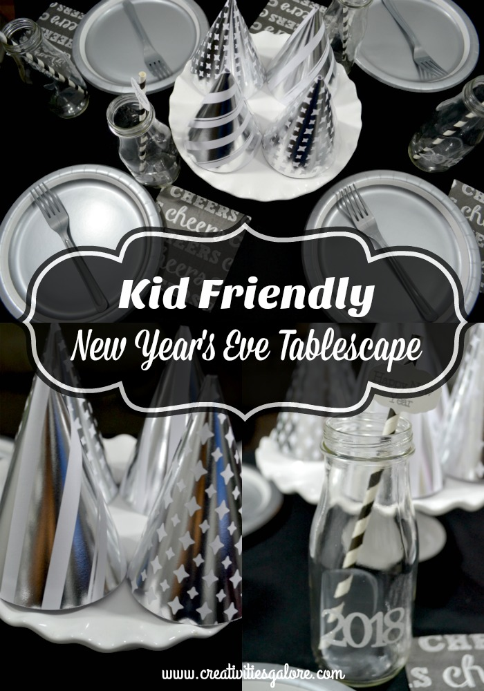 Get the kids involved in your New Year's Eve celebration by setting up a kids new year's eve tablescape with fun party hats as a centerpiece
