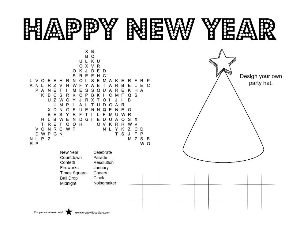 New Year's Activity Sheet