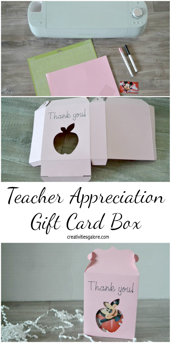 Are you looking for a way to dress up the gift card you got for your child's teacher? Well I have an easy gift box tutorial for that teacher appreciation gift made with the help of my Cricut Explore Air 2.