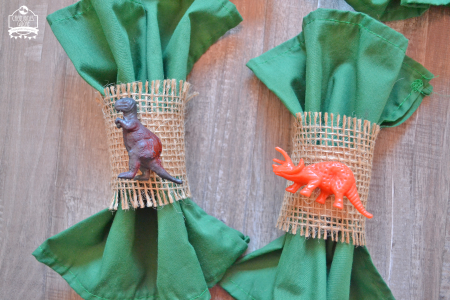 How to Make Dinosaur Burlap Napkin Rings