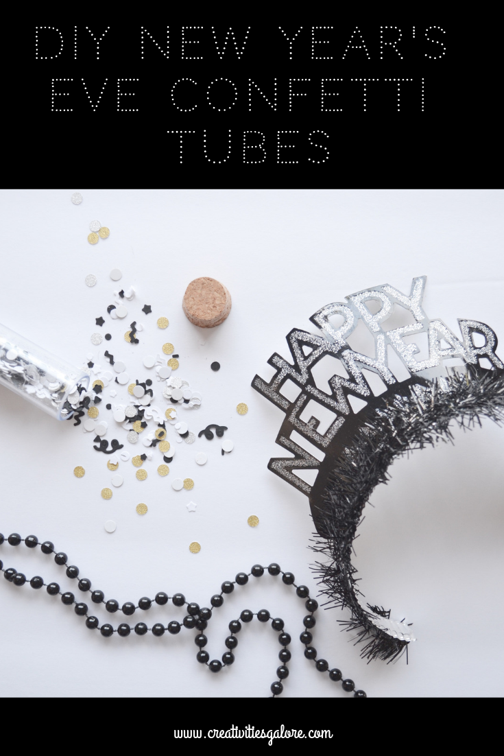 I am sharing how easy it is to make New Year's Eve confetti tubes with the help of the Cricut Cuttlebug. The confetti tubes will help celebrate the new year