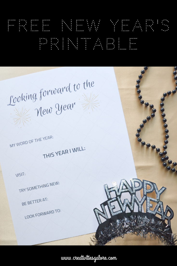 FREE New Year Goals Printable: Print out this free printable, write your word of the the year set some goals for yourself.