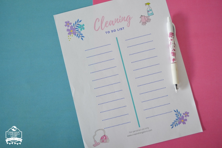 free cleaning to do list printable